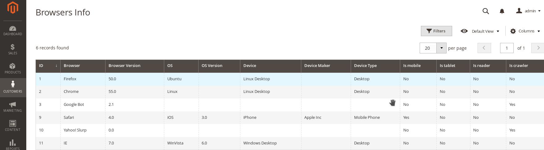Magento2 Browser Info